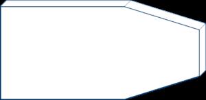 Rechteck mit zwei schrägen Ausschnitten ohne Maße